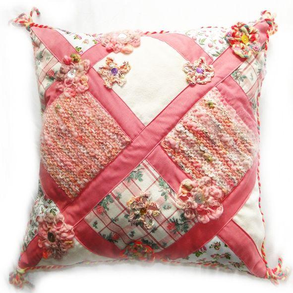 Luxury Embellished Cushion - Pink Blossom Trellis,