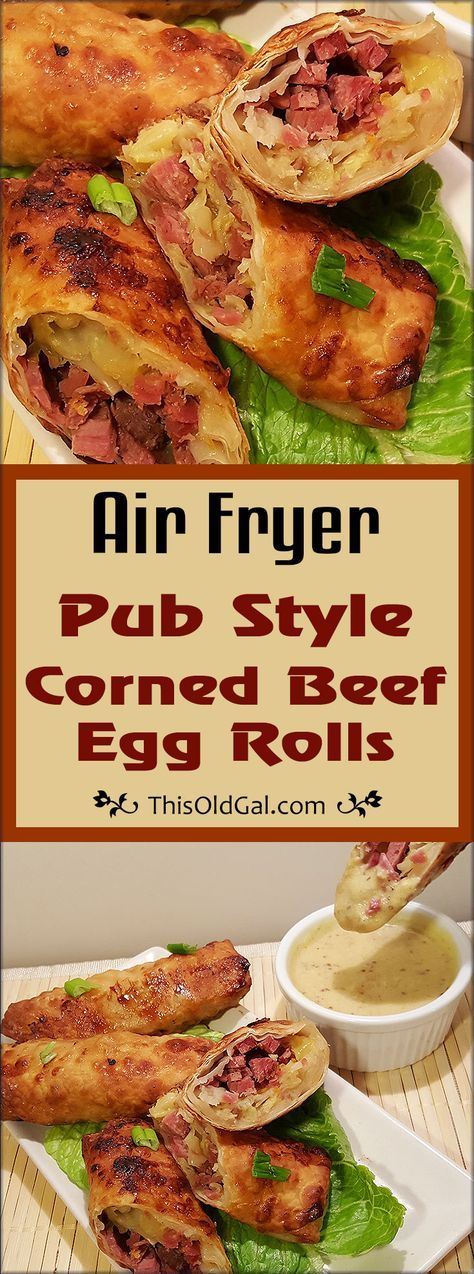 These Air Fryer Pub Style Corned Beef Egg Rolls served with White Wine Mustard Brandy Sauce are great any day of the year. via @thisoldgalcooks