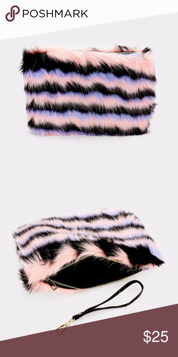 "Fur Striped Clutch Bag • Size : 12"" X 8"" • Strap Size : 8"" L / Detachable • No Inside Pocket • Zipper Closure • Faux Fur Striped Clutch Bag  _______________________________ Tags: ALO Yoga, Reebok, For Love And Lemons, Pandora, Kenneth Cole Reaction, Vineyard Vines, Nasty Gal, Kylie Cosmetics, Anastasia Beverly Hills, Lulu's, Too Faced, Silver Jeans, Aritzia, Antonio Melani, Vintage Bags Clutches & Wristlets"