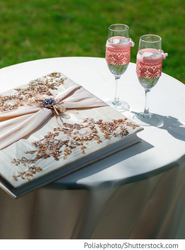 Gästebuch für Hochzeit mit Glitzersteinen und Perlen für russische Hochzeiten