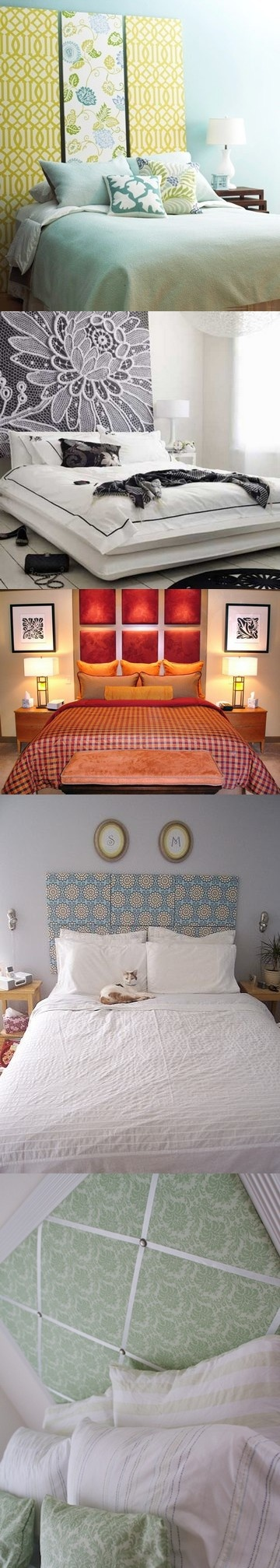 Wrapped Canvas Headboards. Super easy headboard idea. Stretch fabric of your choosing over canvas, nail to headboard, then nail the headboard(s) to the wall. You can do a bunch of squares (interchanging different patterns, or the same to imitate a cushioned look) or 2 or 3 long pieces. You can even take it further and print letters over the fabric, or stretch lace over your pattern for a 3D look. Have fun with it! Super easy, super cheap, and very chic! :)