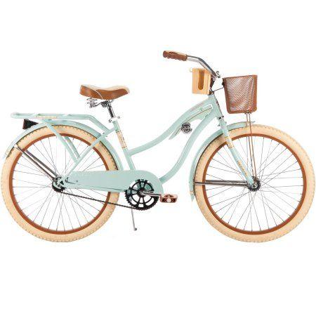 24 inch Huffy Women's Nel Lusso Cruiser Bike, Mint, Wire Basket, Green