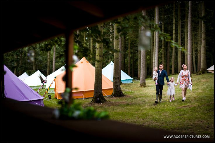 Wedding Guests arriving for this superb Woodland Wedding in Berkshire -