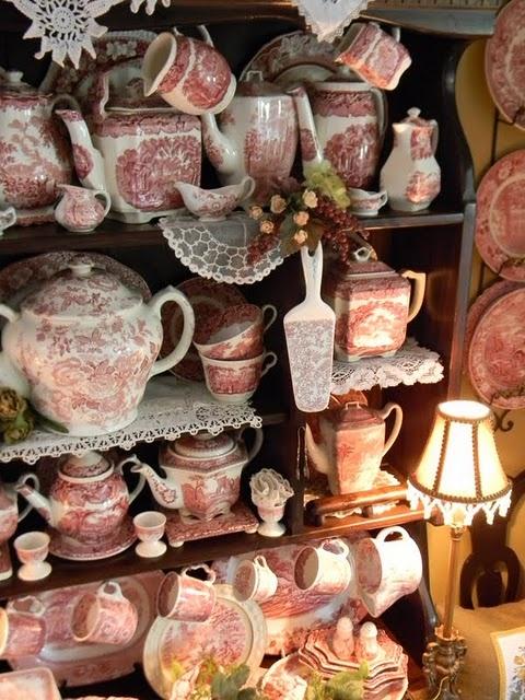 : Nancy S Daily, Red Transferware, Tea Time, Redtransferware, Dishes, Tea Cups, Tea Pots