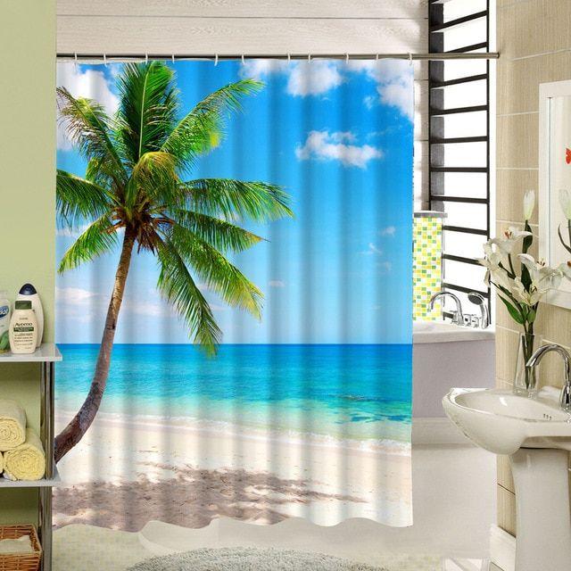 Tropical Beach Shower Curtain Palm Tree Star Fish Pattern 3d Print