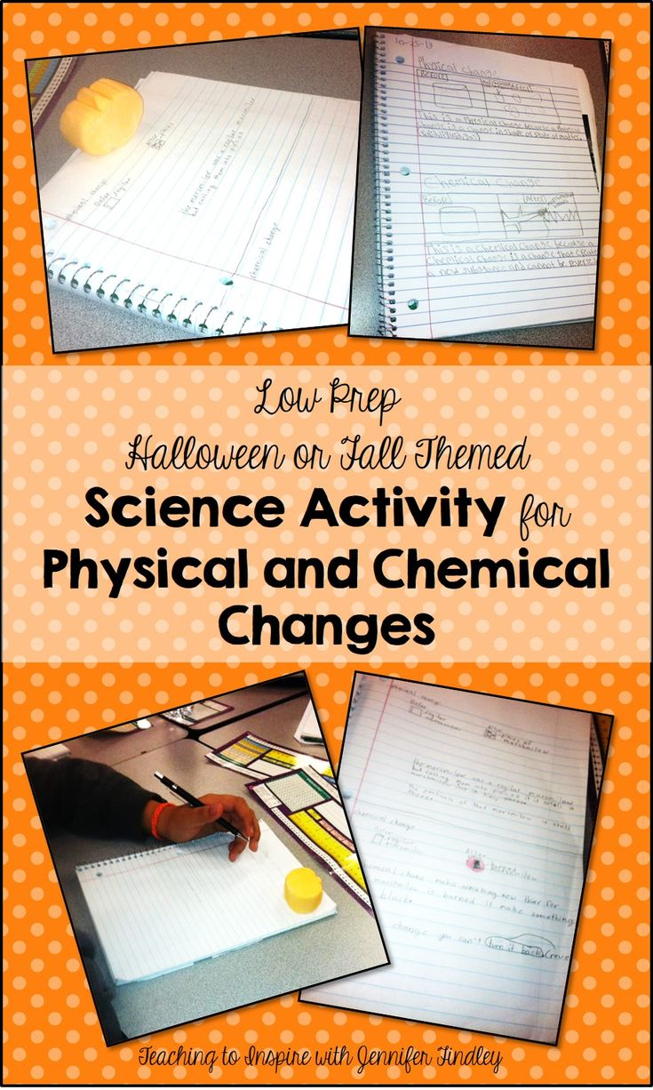 85 best matter 5th grade science images on pinterest science easy no prep physical and chemical changes activity for fall robcynllc Image collections