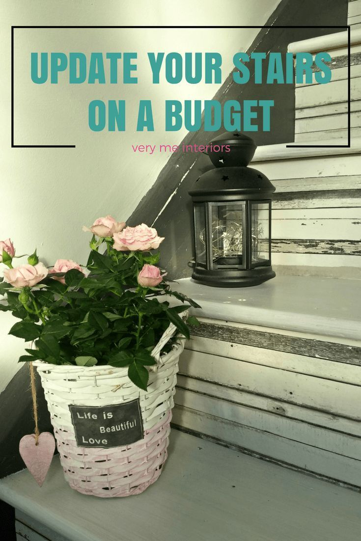 DIY stairs project - how to update your tired looking stairs on a budget using free wallpaper samples