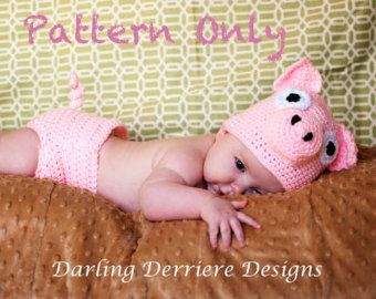 PDF Instant Download Pig Hat and Diaper Cover Crochet Pattern