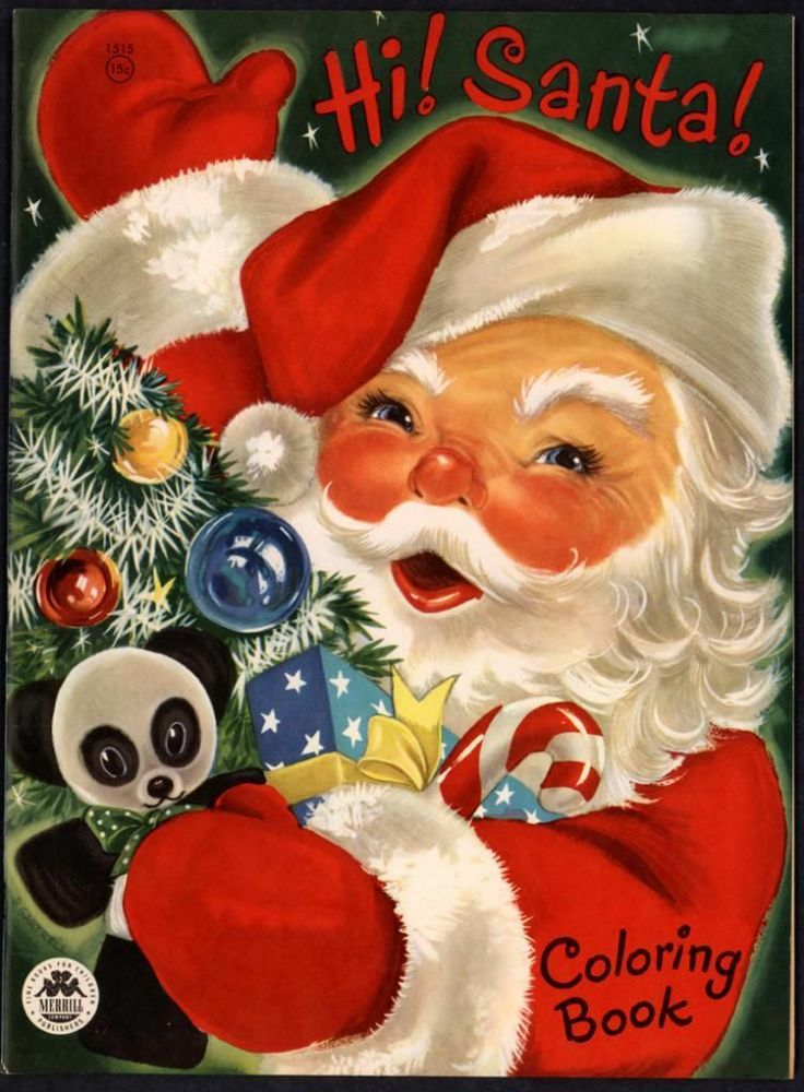 Merrill Archive Copy Hi Santa Coloring Book 1515 1954 M655