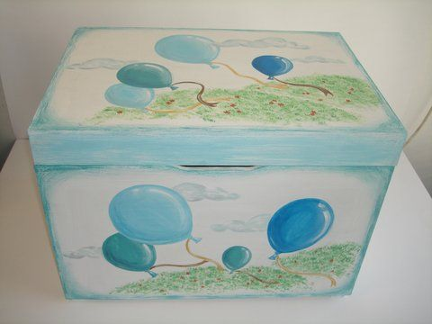 hand painted wooden toy box
