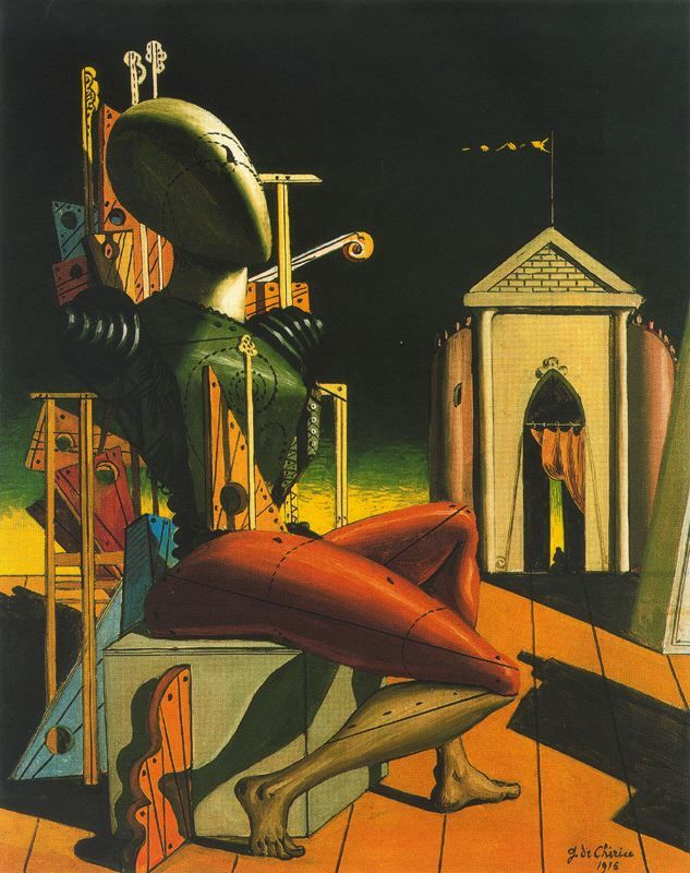 De Chirico, (1916): Immediate Praise from writer Guillaume Apollinaire. French Painter, Yves Tanguy wrote of how one day 1922,  saw one of De Chirico's paintings in art dealer's window. So impressed by it, resolved on the spot to become an artist—although he had never held a brush. Other Surrealists influenced by De Chirico include Max Ernst, Salvador Dalí, & R Magritte, G Morandi, C Carrà, P Delvaux, C Willink, & P Guston…