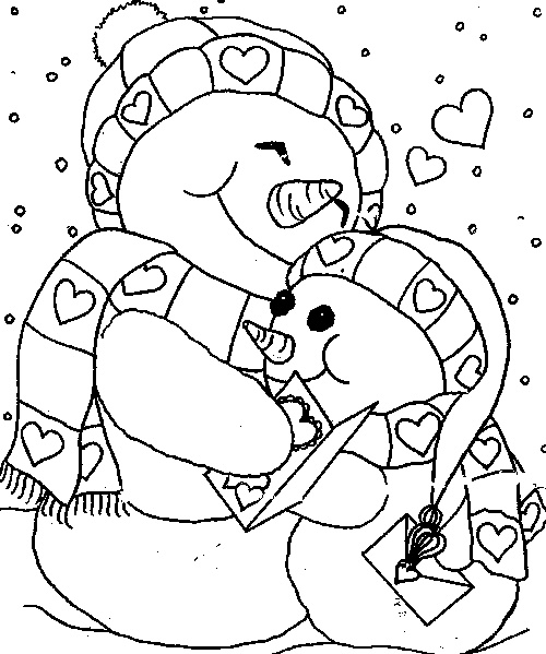 Cuddle snowmen - print and color Valentine's Day Pictures #coloring #valentinesdaycoloring www.thecrayonhouse.com