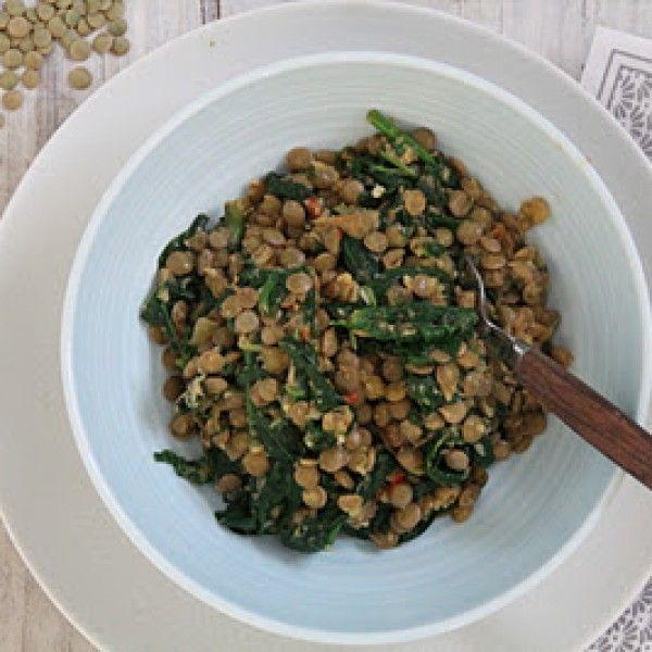 Spicy grønne linser med spinat