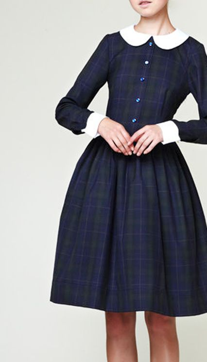 Tartan dress with darling Peter Pan collar and cuffs