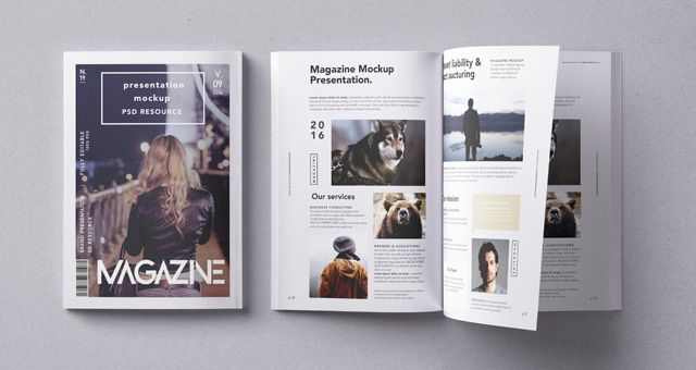A back and open PSD magazine mockup overhead view to showcase your print graphics in style.