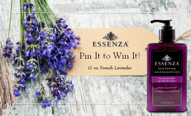 For a chance to win a 12 ounce bottle of our best selling #FrenchLavender hand soap, simply re-pin the image today only. The winner will be notified via Pinterest tomorrow, August 27th. Good luck and happy pinning! #giveaway #experienceessenza