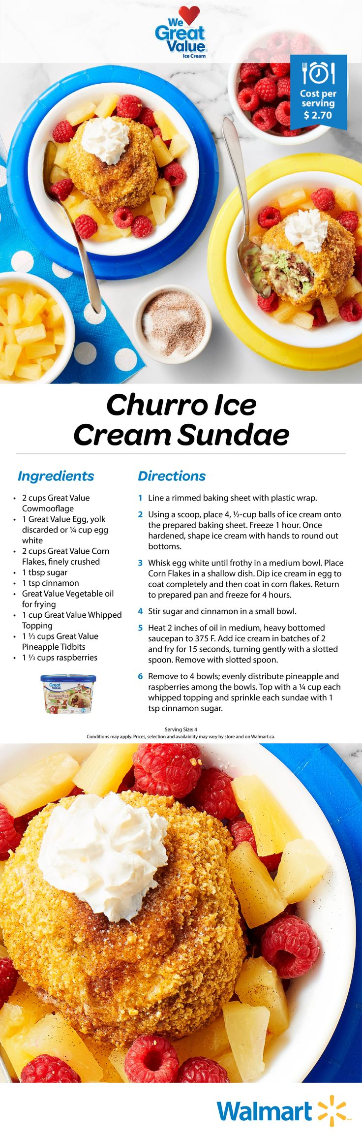 Why can't we adults enjoy ice cream sundaes also? This is a delectable treat full of big and bold flavours. We think you will love it! The recipe starts with our Great Value products. #icecreamsundaes #sundaerecipes #churro #icecream #summertime #summerdesserts #icecreamdesserts #desserts
