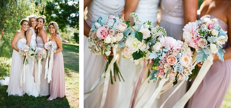 Dusty pinks and dusty miller. Soft and roughly rounded with trailing ribbon trails. www.jademcintoshflowers.com.au
