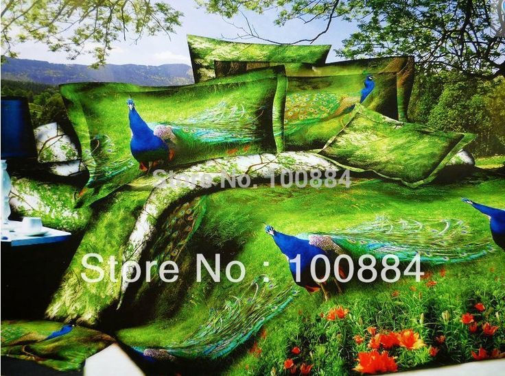 5pc peacock comforter set,comforter quilt + 4pc duvet sets in a bag,3D Oil painting beauty peacock bedding sets queen size