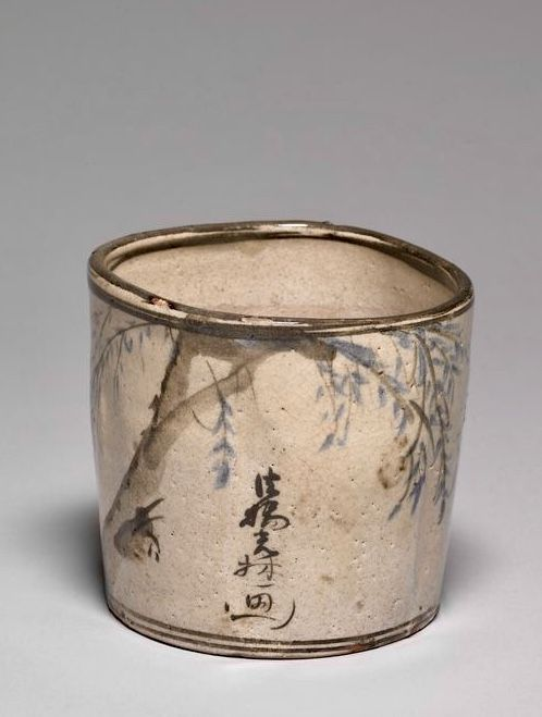 Japanese Incense or Charcoal Container with Signatures of 尾形光琳 Ogata Korin and Ogata Kenzan
