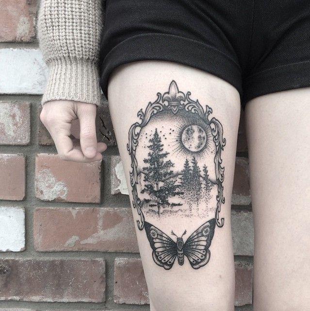 Scenery Thigh Tattoo