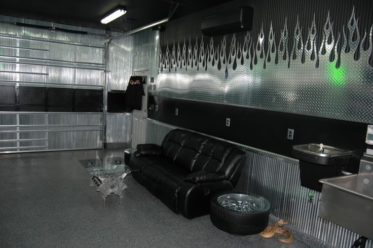 Man Cave Garage Walls : Diamond plate flame garage double recliner wall of