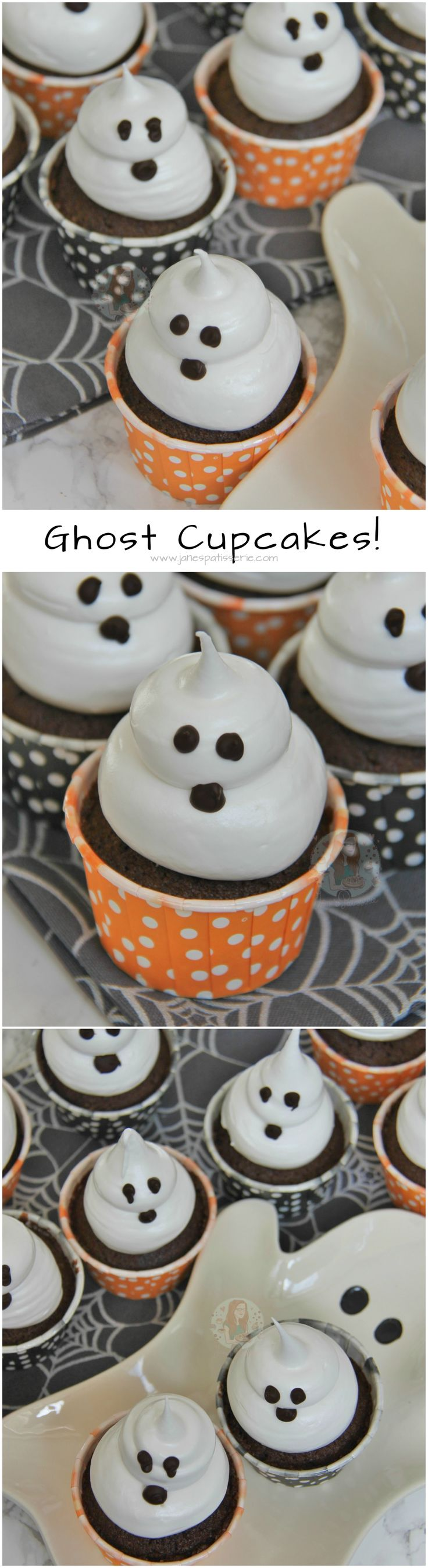 Ghost Cupcakes - Chocolatey and Delicious Chocolate Cupcakes topped with an Italian Meringue to make Cute and Spooky Ghost Cupcakes for Halloween!