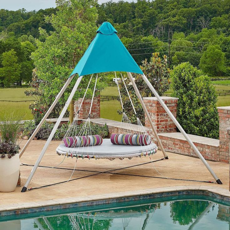Patio Swing With Canopy Bed Lounger Poolside Outdoor Backyard Pillows UV Protect #MembersMark