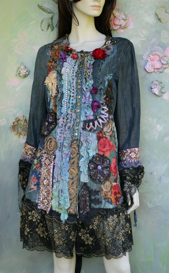 Whimsy hand toned vintage denim jacket, long, ornate, altered couture. Somewhat inspired by baroque era mens garments, Catherine the Great riding outfit-uniform/military feel with a feminine twist. The hems have lots of intricate details to discover- small hand dyed torn silk flounces accentuated with pewter seed beads and diamante trim, vintage metallic embroidered trims, antique copper metallic embroidered roses on black net, vintage printed textiles and lace, vintage shiny dark sequin…
