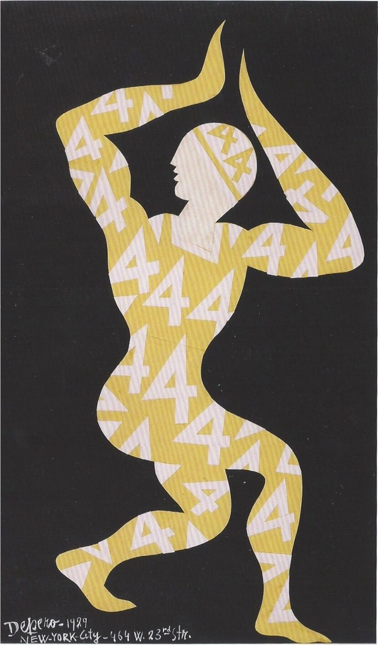 Fortunato Depero Costume chiffré / Ciphered costume, collage sur papier / on paper, 56 x 34 cm 1929