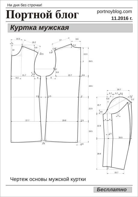 Бесплатная выкройка мужской куртки | Портной блог
