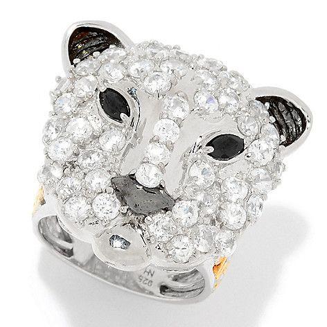 160-967 - Gems en Vogue 5.00ctw White Zircon & Black Spinel Panther Ring