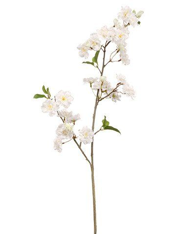 """Faux Cherry Blossom Spray in White<br>34"""" Tall"""