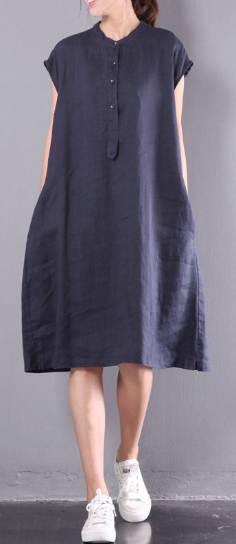 navy casual linen dresses plus size button sundress short sleeve maxi dress