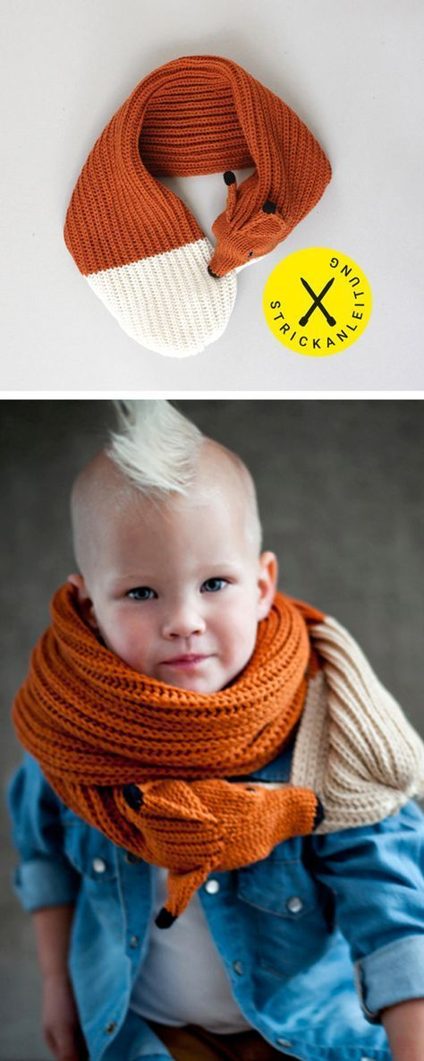 Strickanleitung für einen Fuchs Schal für Kinder, selbstgemachte ...
