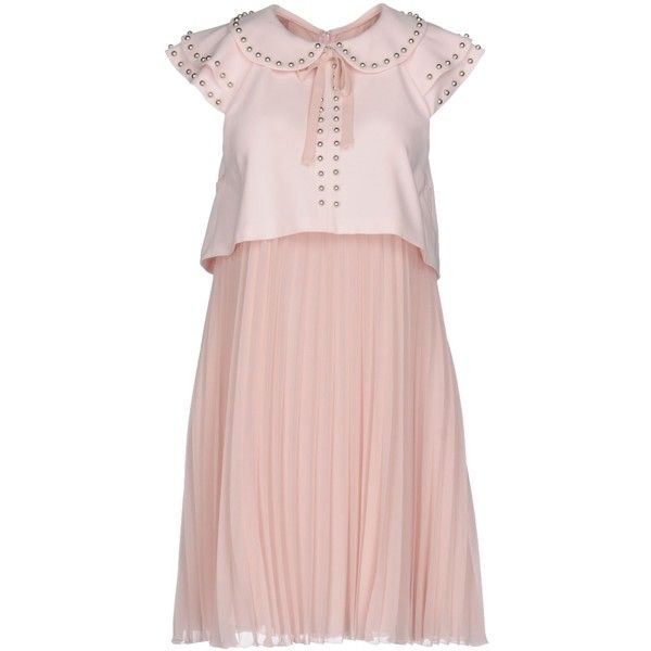 Giamba Short Dress ($420) ❤ liked on Polyvore featuring dresses, light pink, light pink short dress, pleated dress, short pleated dress, mini dress and short dresses