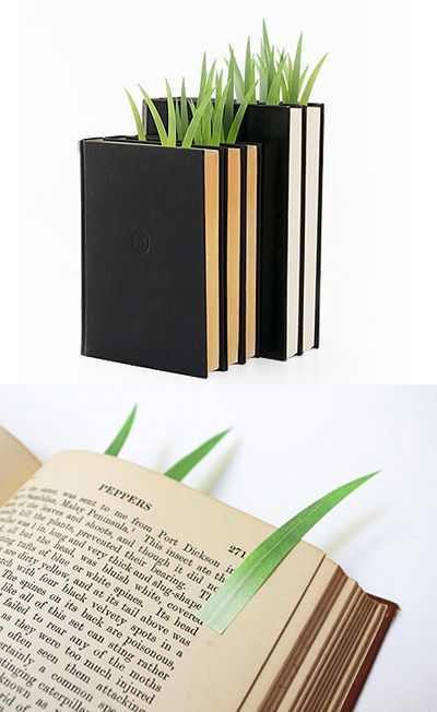 grass-shaped post-its that serve as page markers!