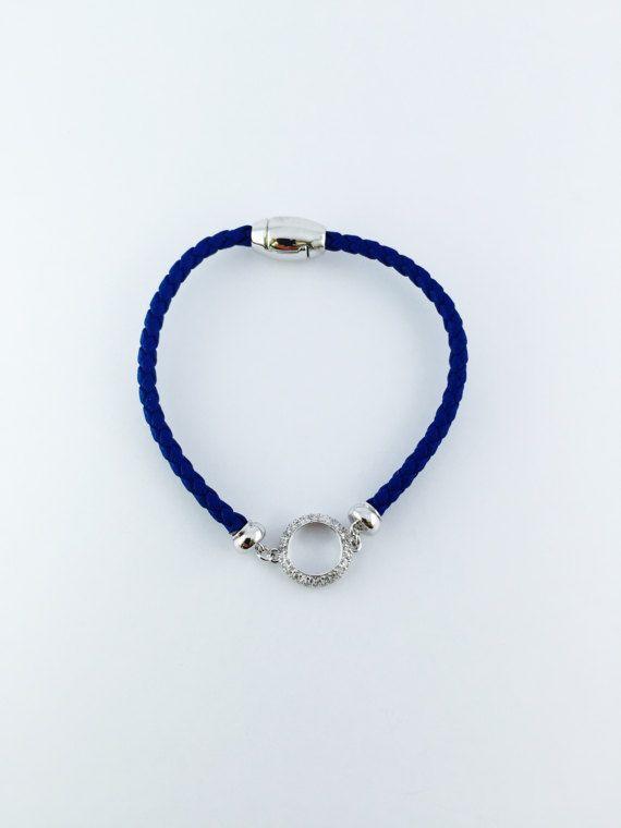 Gold Bracelet,Blue Leather Charm Bracelet,Gold Leather Bracelet,Women Bracelet,White Gold Charm with CZ,Magnetic Clasp Bracelet,Gift for her
