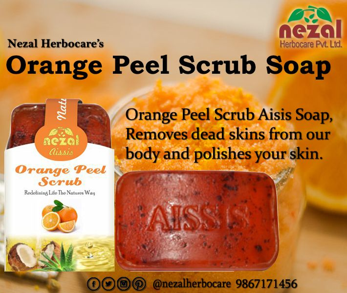Nezal herbocare's orange peel scrub aissis natural soap is an exfoliating scrub formula which removes dead skin by gentle scrubbing effect along with orange skin with each bath. Buy handmade herbal soap from https://googl/sZSVuW and enjoy the freshness throughout the day. #herbalsoap #herbal #soapmaking orange advertising Orange (fruit) #nezalherbocare #nezalsoaps #naturalsoaps