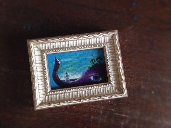 『象の見る夢』油彩画 額*95mm×125mm 画*50mm×80mmミニ額入り/キャンバスボード|ハンドメイド、手作り、手仕事品の通販・販売・購入ならCreema。