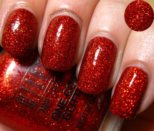 Red Glitter...  and the best part:  My nail spa has shellac in this color.