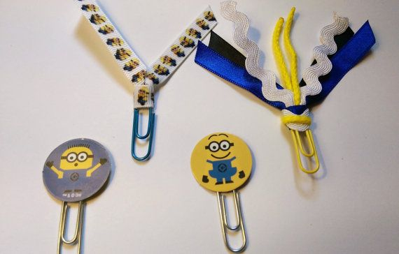 Minions Blue/Yellow Ribbon Paperclip Set - Planner/Journal/Bookmark - Erin Condren, Kikki K, Happy Planner
