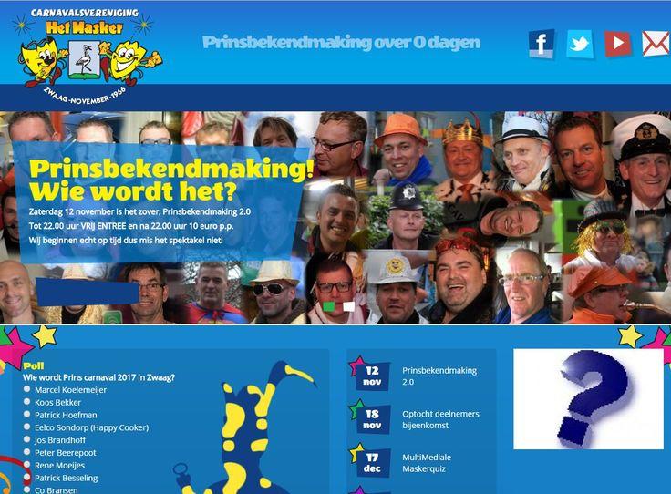 Zaterdag 12 november 2017 :  Wie wordt de nieuwe prins van Het Masker ?  Carnaval in Zwaag