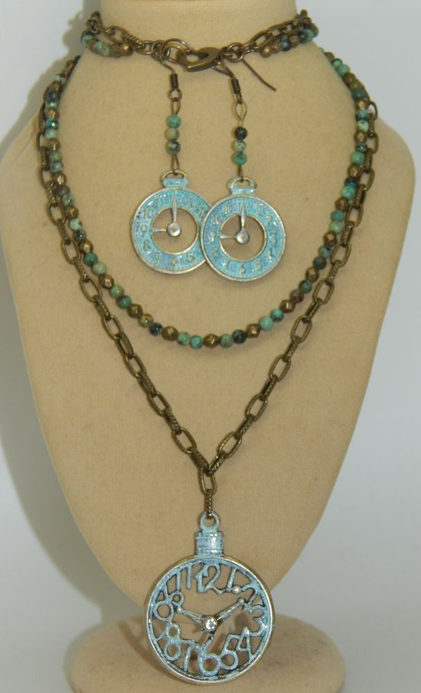 Sodalite & Hand-Patina'd Watch face & Natural Turquoise Beaded Necklace Set