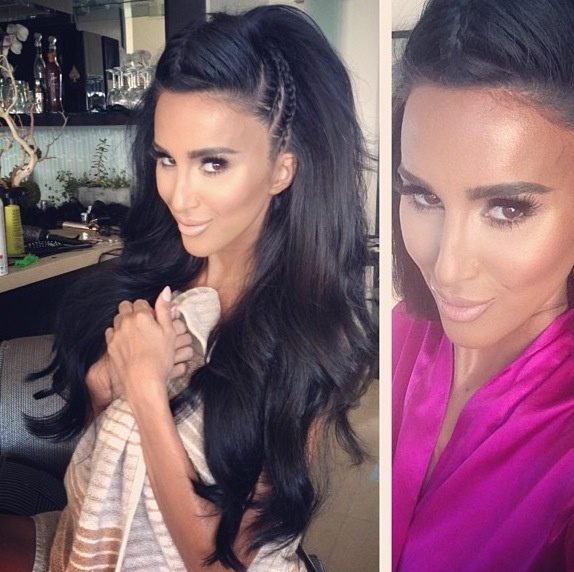 Lilly Ghalichi...corn rows at the sides