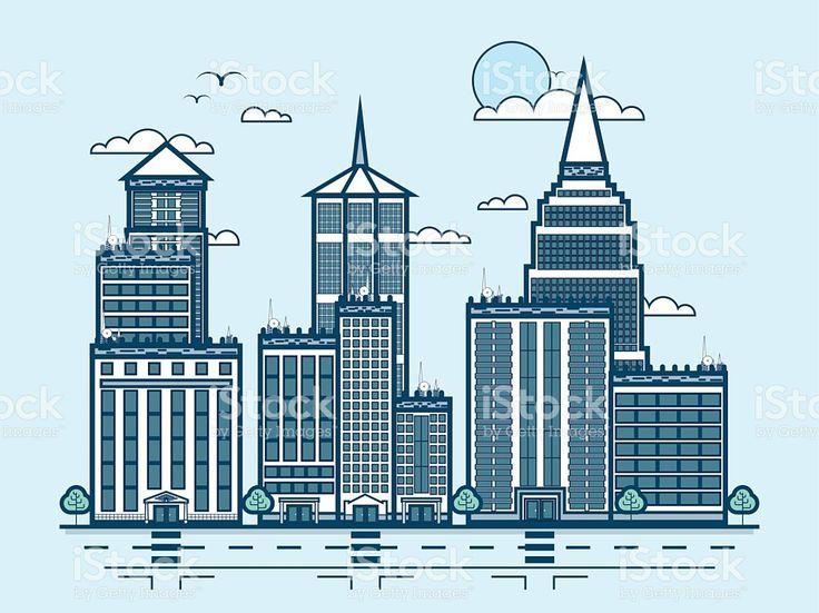 Улицы города и небоскребы, многоэтажных здания современной архитектуры в линии Сток Вектор Стоковая фотография