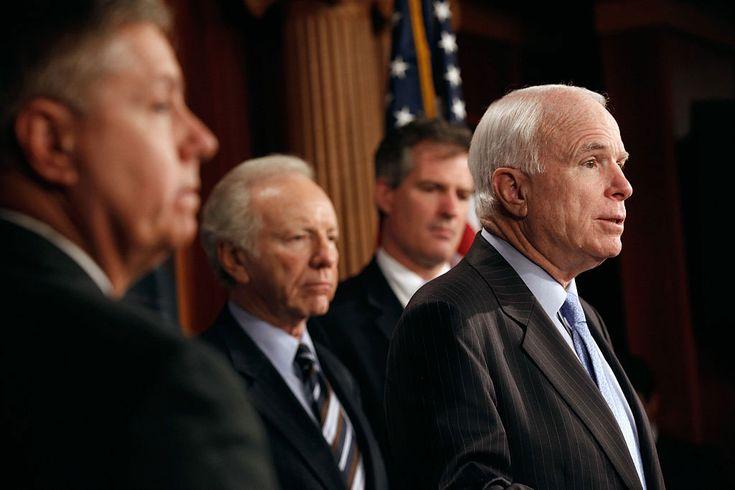 The Way to Stop Trump David Cole. Senator John McCain (right) with fellow senators Lindsey Graham, Joe Lieberman, and Scott Brown, introducing legislation to refine the Detainee Treatment Act of 2005, Washington, DC, March 10, 2011