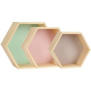 Set of 3 Pastel - Coloured Hexagon Shape Shelves Display Units Beautiful pastel coloured hexagon shaped display units shelving The largest unit is
