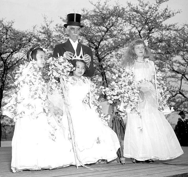 Vintage Clip Art – Cherry Blossom Queen