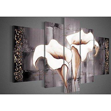 pittura a olio dipinta a mano di arte della parete nero puro gigli bianchi della decorazione della casa paesaggio tela di canapa 5pcs / – EUR € 39.19